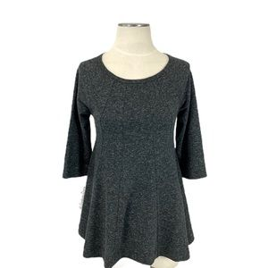 Anthropologie- Deletta Charcoal Gray Flare Top